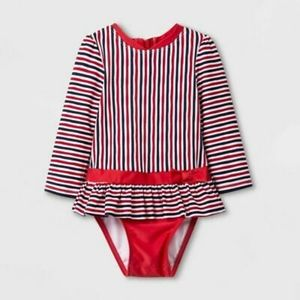 Cat & Jack Striped Long Sleeve Bathingsuit